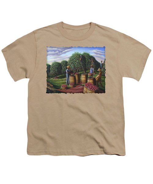 Apple Harvest - Autumn Farmers Orchard Farm Landscape - Folk Art Americana Youth T-Shirt