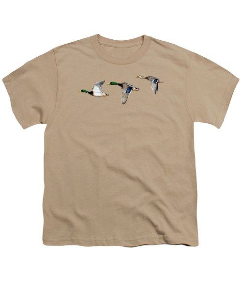 Flying Mallards Youth T-Shirt by Sarah Batalka