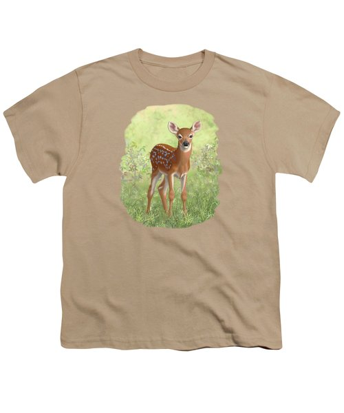 Cute Whitetail Deer Fawn Youth T-Shirt