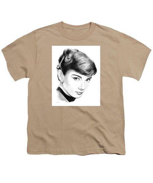 Audrey Hepburn Youth T-Shirt by Greg Joens