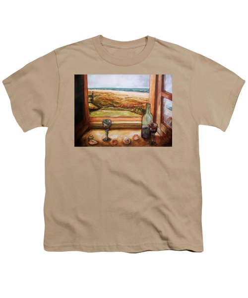 Youth T-Shirt featuring the painting Beach Window by Winsome Gunning