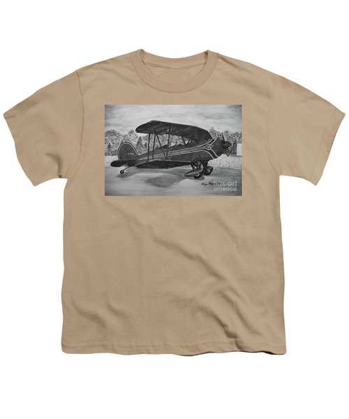 Biplane In Black And White Youth T-Shirt by Megan Cohen