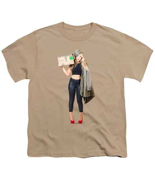 Bombshell Blond Pinup Woman In Dangerous Style Youth T-Shirt by Jorgo Photography - Wall Art Gallery
