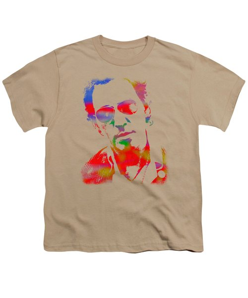 Bruce Springsteen Watercolor Portrait On Worn Distressed Canvas Youth T-Shirt