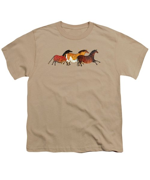 Cave Horses In Beige Youth T-Shirt