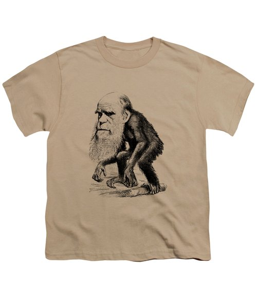 Charles Darwin As An Ape Cartoon Youth T-Shirt by War Is Hell Store