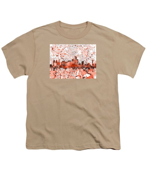 Dallas Skyline Map Red Youth T-Shirt