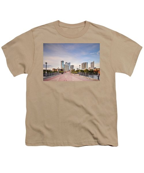 Downtown Austin Skyline From Lamar Street Pedestrian Bridge - Texas Hill Country Youth T-Shirt by Silvio Ligutti