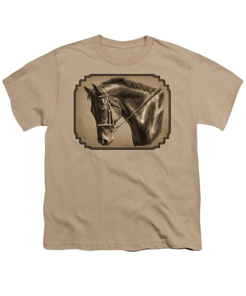 Dressage Horse Sepia Phone Case Youth T-Shirt