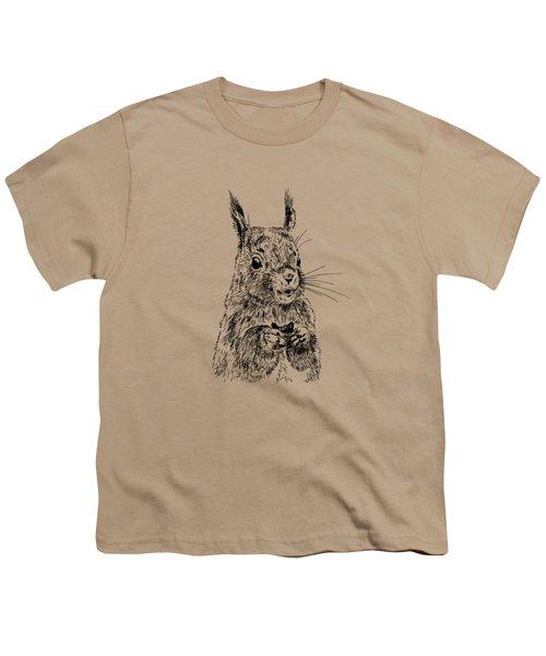 Eating Squirrel Youth T-Shirt by Masha Batkova