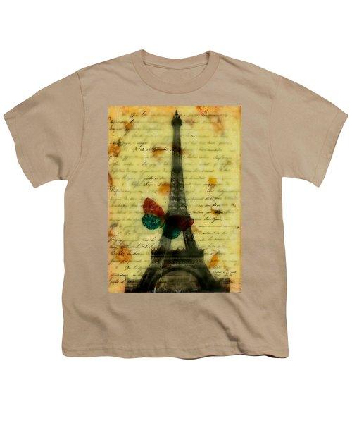 Eiffel Tower Memory Encaustic Youth T-Shirt by Bellesouth Studio