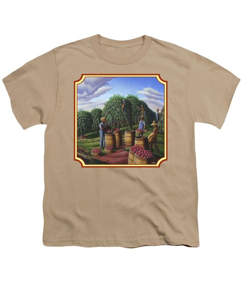 Farm Americana - Autumn Apple Harvest Country Landscape - Square Format Youth T-Shirt by Walt Curlee