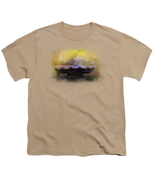 Finches On The Bird Bath Youth T-Shirt by Jai Johnson