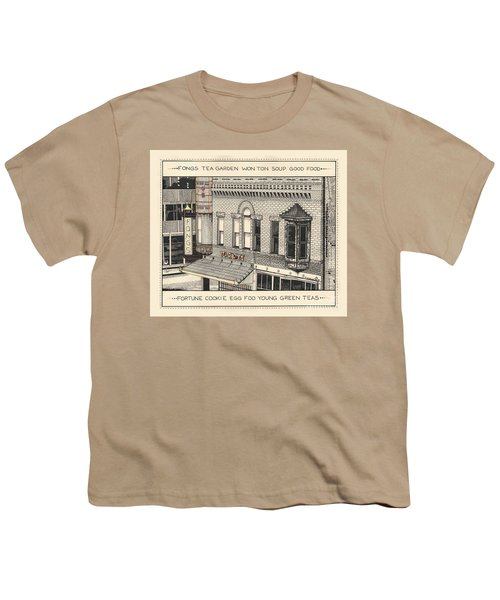 Youth T-Shirt featuring the drawing Fongs Tea Garden by Chholing Taha