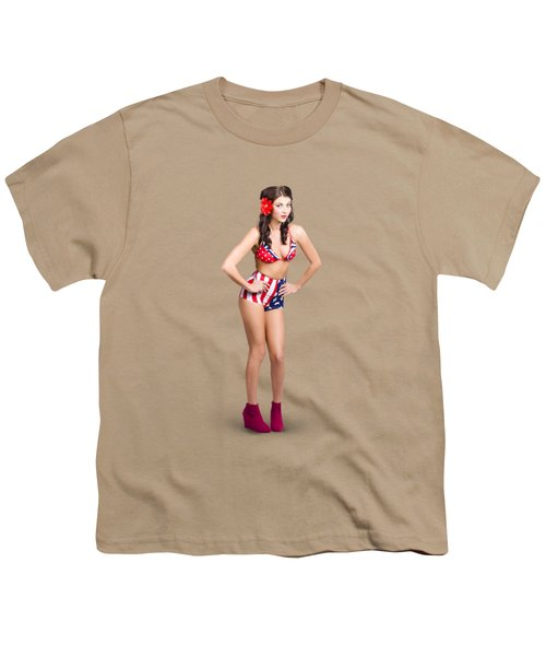 Full Body Pin-up Girl. American Retro Style Youth T-Shirt by Jorgo Photography - Wall Art Gallery