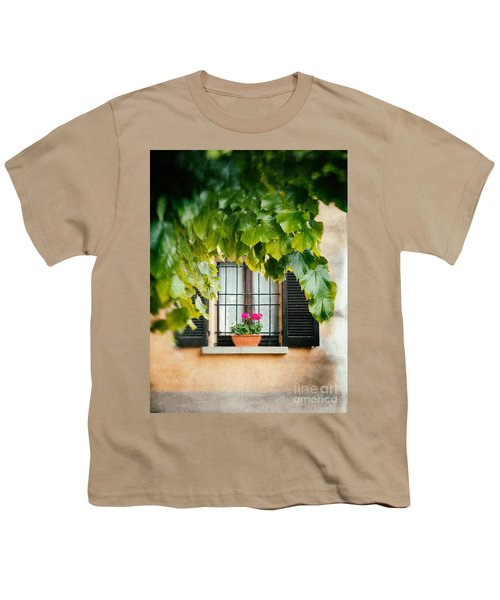 Youth T-Shirt featuring the photograph Geraniums On Windowsill by Silvia Ganora