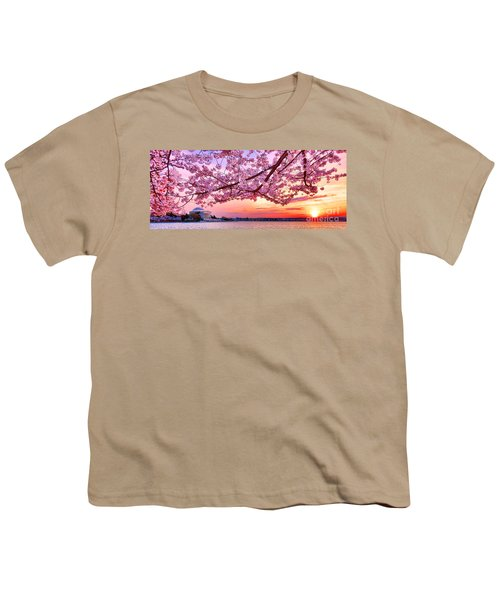 Glorious Sunset Over Cherry Tree At The Jefferson Memorial  Youth T-Shirt