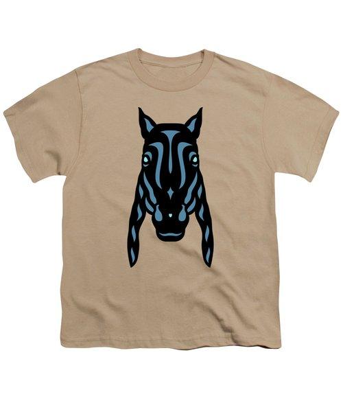 Horse Face Rick - Horse Pop Art - Hazelnut, Niagara Blue, Island Paradise Blue Youth T-Shirt