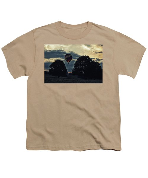 Hot Air Balloon Between The Trees At Dusk Youth T-Shirt