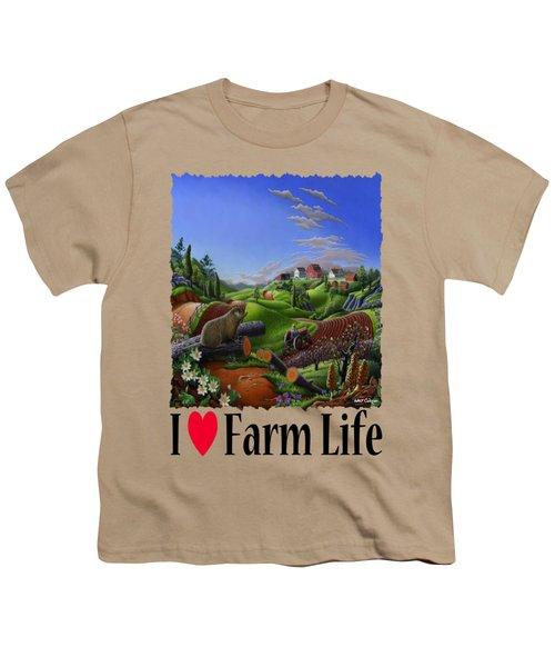 I Love Farm Life - Groundhog - Spring In Appalachia - Rural Farm Landscape Youth T-Shirt