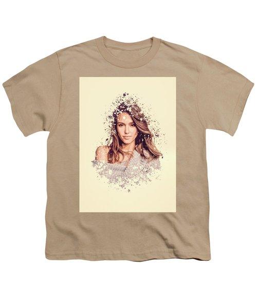 Jessica Alba Splatter Painting Youth T-Shirt