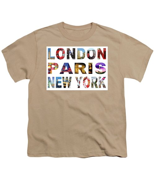 Youth T-Shirt featuring the digital art London Paris New York, White Background by Adam Spencer