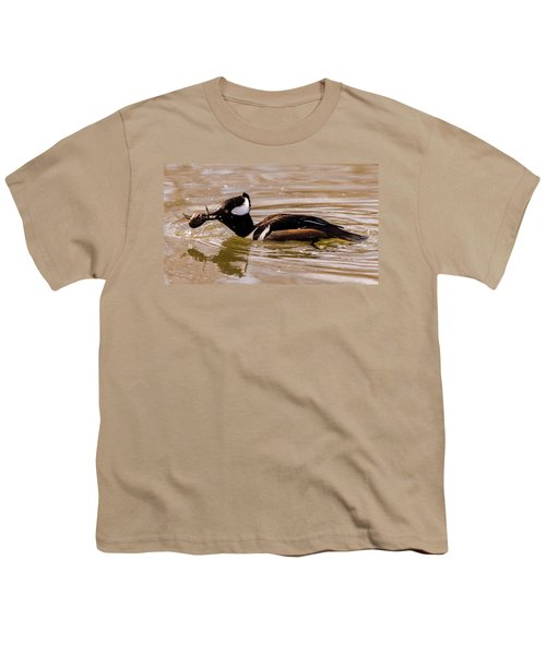 Youth T-Shirt featuring the photograph Lunchtime For The Hooded Merganser by Randy Scherkenbach