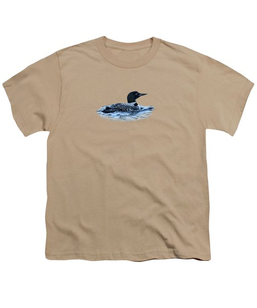 Male Mating Common Loon Youth T-Shirt by Daniel Hebard