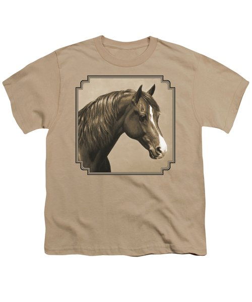 Morgan Horse Painting In Sepia Youth T-Shirt by Crista Forest