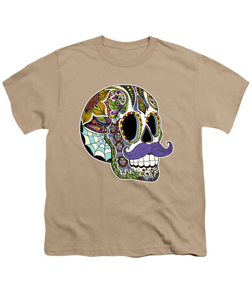 Mustache Sugar Skull Vintage Style Youth T-Shirt by Tammy Wetzel
