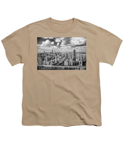 Youth T-Shirt featuring the photograph Near North Side And Gold Coast Black And White by Adam Romanowicz