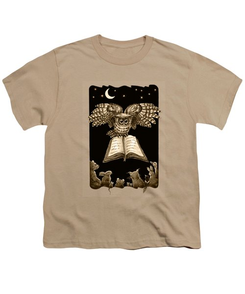 Owl And Friends Sepia Youth T-Shirt