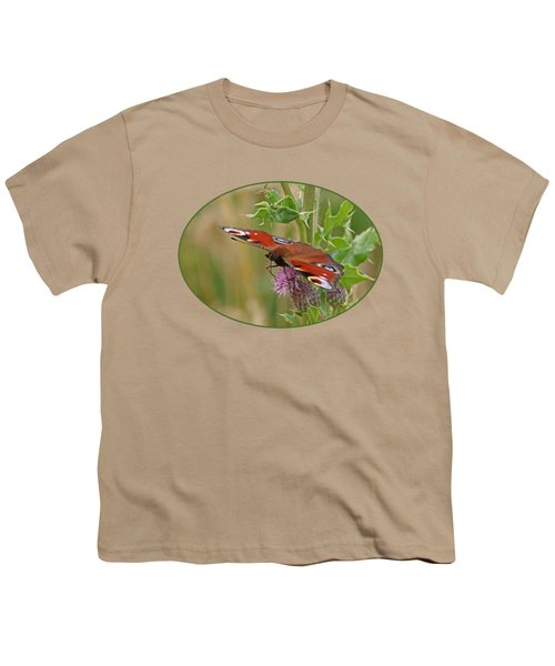 Peacock Butterfly On Thistle Youth T-Shirt