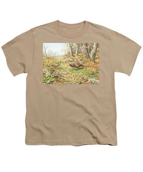 Pheasants With Blue Tits Youth T-Shirt by Carl Donner