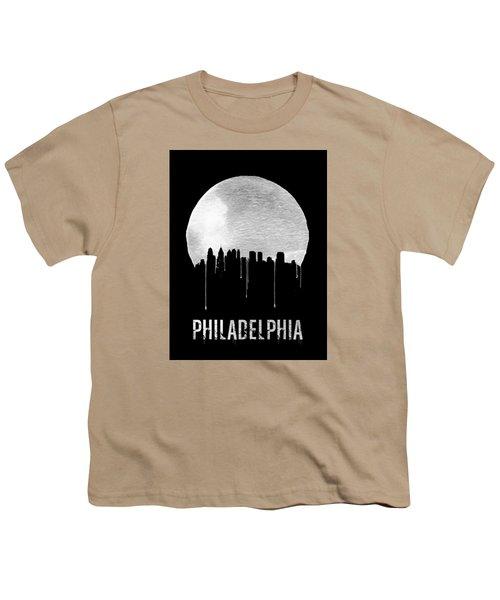 Philadelphia Skyline Black Youth T-Shirt by Naxart Studio