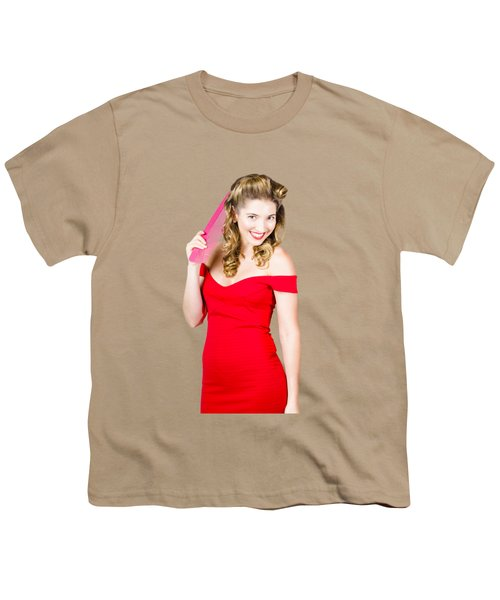 Pin-up Styled Fashion Model With Classic Hairstyle Youth T-Shirt by Jorgo Photography - Wall Art Gallery