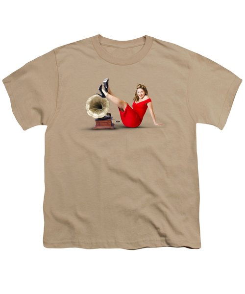 Pinup Girl In Red Dress Playing Classical Music Youth T-Shirt by Jorgo Photography - Wall Art Gallery
