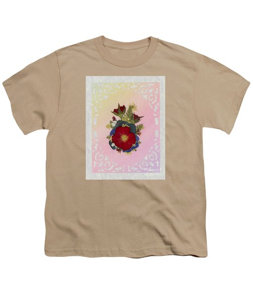 Pressed Flowers Arrangement With Red Roses Youth T-Shirt