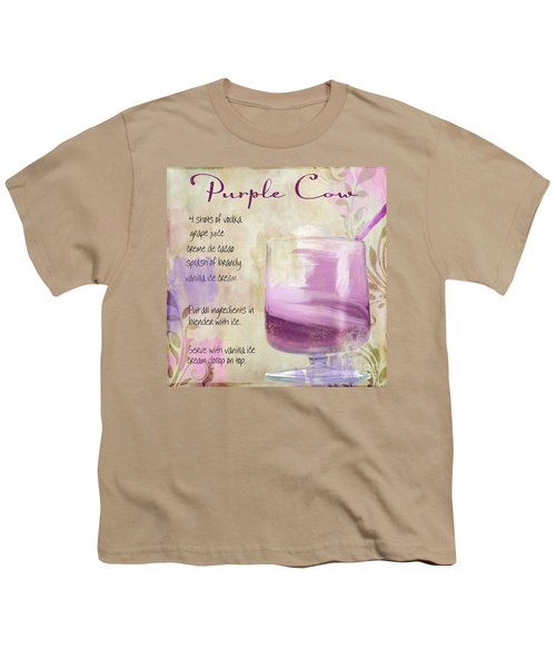 Purple Cow Mixed Cocktail Recipe Sign Youth T-Shirt by Mindy Sommers