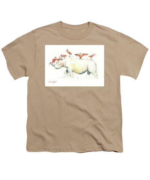 Rhino And Ibis Youth T-Shirt by Juan Bosco