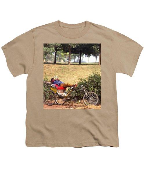 Rickshaw Rider Relaxing Youth T-Shirt by Travel Pics