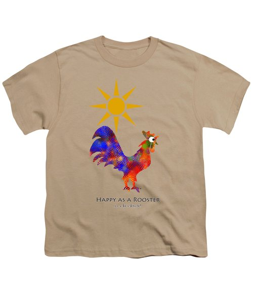 Rooster Pattern Aged Youth T-Shirt by Christina Rollo