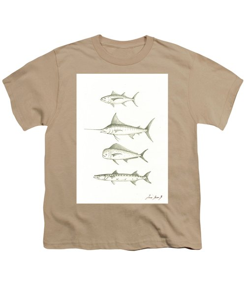 Saltwater Gamefishes Youth T-Shirt by Juan Bosco
