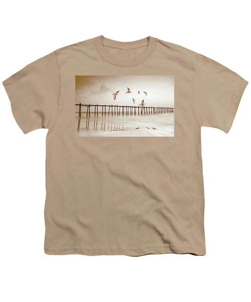 Sandpipers In Sepia Youth T-Shirt