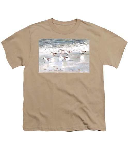 Sandpipers On Siesta Key Youth T-Shirt by Shawn McLoughlin