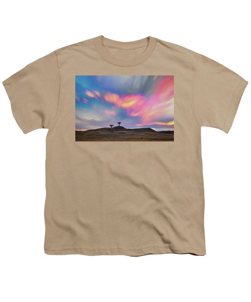Youth T-Shirt featuring the photograph Satellite Dishes Quiet Communications To The Skies by James BO Insogna