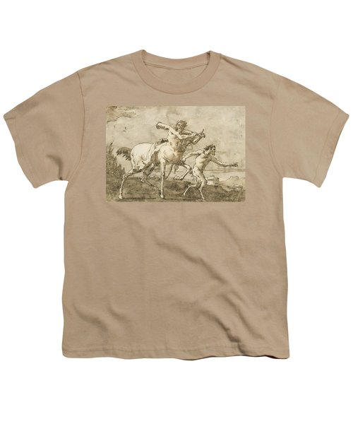Satyr Leading A Centaur, Who Carries A Club, Bow And Quiver, Outside The Walls Of A City Youth T-Shirt
