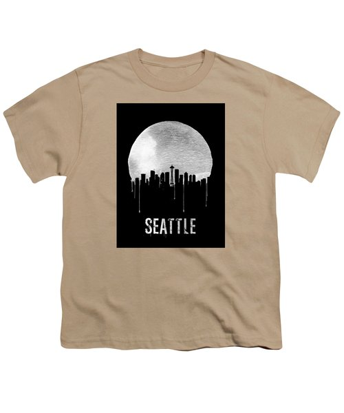 Seattle Skyline Black Youth T-Shirt by Naxart Studio