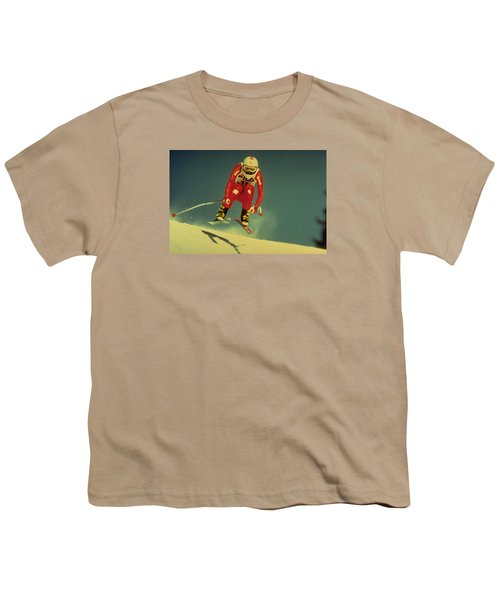 Youth T-Shirt featuring the photograph Skiing In Crans Montana by Travel Pics