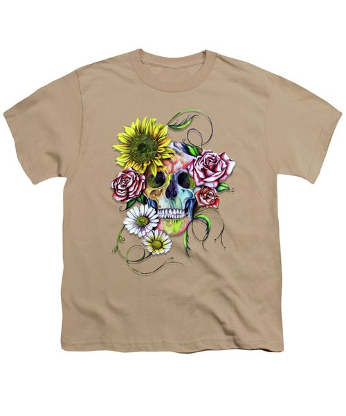Skull And Flowers Youth T-Shirt by Isabel Salvador